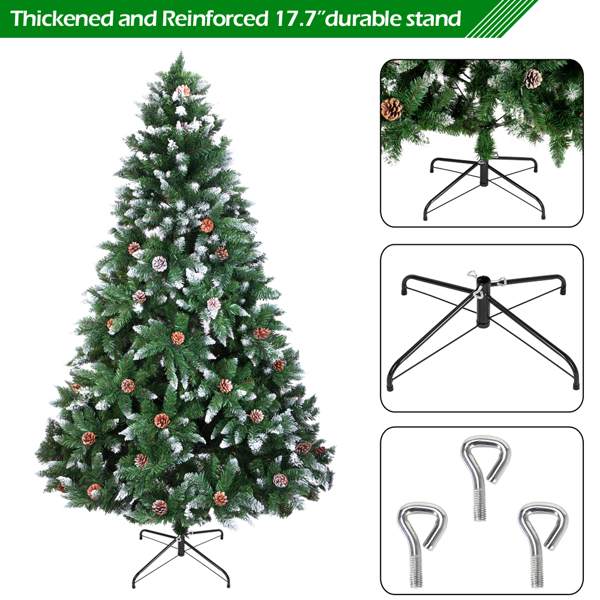 FCH 6ft 植绒带松果 920枝头 喷白 圣诞树 PVC树枝铁支架 N101 英国 法国 德国