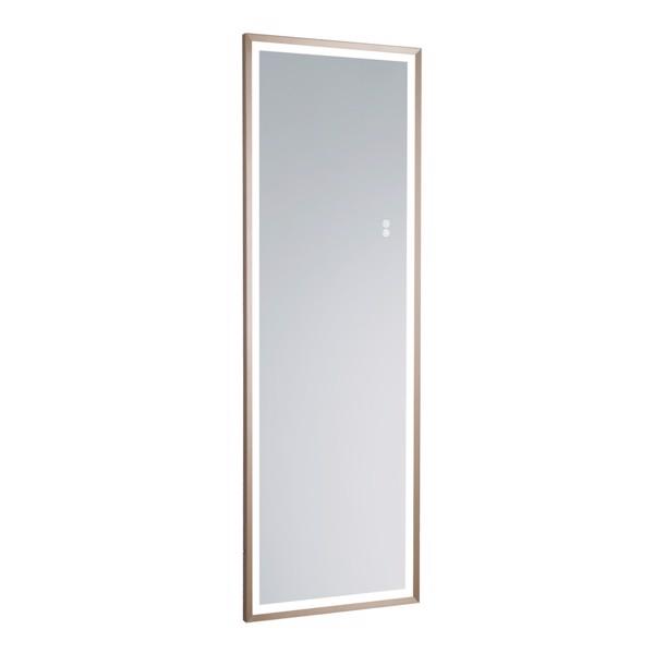 (亚马逊禁售)22英寸x65英寸LED发光全身镜、带哑光金框架的身体后视镜、触摸开关和无级调光